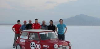 Crew members with the world's fastest Mini from left; Mike Wilson, Steve Tolmie, Paul Dowell, Garry Orton, Larry Mulholland, Bryan Hartley and Nelson Hartley. Photo: Mike Wilson.