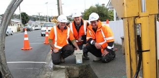 Working on bringing ultra-fast broadband to Nelson homes and businesses are from left; Paul Heath of Adcock and Donaldson, Steve Lovell of Transfield Services and Darryl Shadbolt of Adcock and Donaldson. Photo: Andrew Board.
