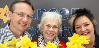Preparing for Daffodil Day this Friday is from left; CEO of the Cancer Society's Wellington division Michael Smith, Nelson manager Linda Lucre and Shannan Clarke. Photo: Andrew Board.