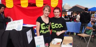 Nayland College business winners Phillipa Oldham, left, and Gemma Fern at the Saturday market. Photo: Amber Bourke.