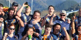 The Tasman Titans celebrate winning the South Island Rugby League Championship.