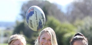School rugby players Charna Thompson, 18, Laura Stielow, 16, and Tash Kara, 17, are off to Christchurch tomorrow to compete against the best schools in Christchurch in a 10s competition. Photo: Andrew Board.