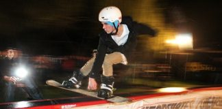 Shaen Gallagher rides the rail during Friday night's Jib Jam at the Playhouse Café in Mapua. Photo: Phillip Rollo.