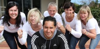 Trainer Greg Witika will lead the Boot Camp for Breast Cancer fundraiser at the Nelson College for Girls gym later this month. With him are trust members from left; Kim Proctor-Western, Kate Coote, Lloyd Harwood, Kim Miccio and Bridget Harwood. Photo: Andrew Board.