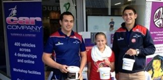 Tasman Makos Vernon Fredericks, left, and Bryce Heem with Italy. All joined the Car Company staff to raise money for Nelson Women's Refuge on the streets of Nelson last week.