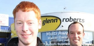 SPARKPLUG: New Zealand electrical apprentice of the year winner Alex Tyson, 25, with his boss, Glenn Roberts Electrical owner Josh Roberts. Photo: Andrew Board.