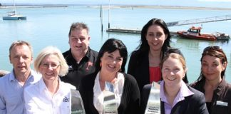 Nelson's winners from left; Ken and Tracy Banner of the Sprig & Fern Milton St, Ron and Tracey Taylor of Little Rock Bar and Nightclub, Clare Davies and Nicole Garthwaiteis from Grand Mecure Monaco Resort and Hospitality NZ's Jeanette Swift.