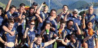 The Tasman Titans celebrate beating the Southland Rams and winning the South Island Inter-district Championship final at Trafalgar Park on Saturday. For more match photos, visit www.nelsonweekly.co.nz. Photo: Phillip Rollo.