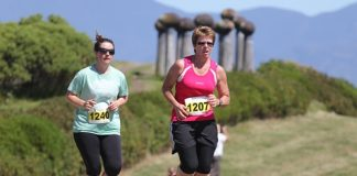 Jacinda Beyer-Rieger (1207) leads Jane Andrew (1240), both of Nelson, during the Run Mahana event on Sunday. Photo: Phillip Rollo.