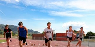 Nelson sprinters Madisen Stanley, Jonas Kale, Adam Pauling, Hannah Shepherd and Bonita Morrissey-Smith will be competing at the New Zealand Secondary School Track & Field Championship in Dunedin this weekend. Photo: Phillip Rollo.
