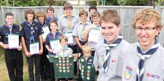Queen Scout's Shaun Honor and Ben Sutton, far right, with some local scouts that have earned awards from left; Jamie Kunzli, Logan Williams, Simon Wynne-Jones, Tom Robinson and Richard Horne, all of the Iron Duke Sea Scouts. Jonathan Growcott of Enner Glynn, Sam Harrison of Brightwater, Culainn Wadsworth of Riwaka, Tim Green, Sam Burke and Oliver Burke, all of Wakefield. Photo: Andrew Board.