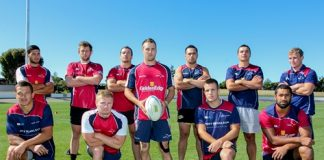 The Tasman team for this weekend's Pub Charity National Sevens tournament in Queenstown will be captained by Shawn Begg, centre. Dan Hytongue, Trael Joass, Daniel Baxter, Kaide Whiting, Kim Bateman, Vern Fredericks, Fletcher Matthews, James Lowe, Sione Holani and Mitchell Scott make up the rest of the squad. Photo: Phillip Rollo.