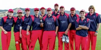 Stoke/Nayland has won the Colin Aitken Twenty20 Trophy after seeing off Wanderers in the final over. They are from left; Mitchell Drummond, Jacob Beleski, Todd Marwick, Ben Homan, Brendan Hodgson, Alex Coles, Angus Riley, Dylan Eginton, Paul Capstick, Josh Sansom and Mitchell Ross. Photo: Phillip Rollo.