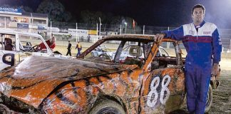 Gavin Peterson took out the Demolition Derby in a car he won thanks to a lucky raffle ticket. Photo: Phillip Rollo.