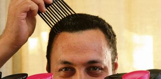 Nathan Nukunuku is growing his afro to raise money for CanTeen. Photo: Lauren Wafer-Kiddle.