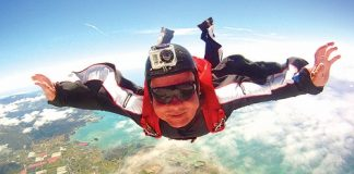 Nelson man Marcel Messemaker high above Tasman. He will be taking part in Good Vibes 2013, a skydiving event based in Motueka.