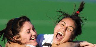 Tasman women's players Hannah Saul and Tanya Hawley celebrate winning Saturday's division one final in penalties. Photos: Phillip Rollo.
