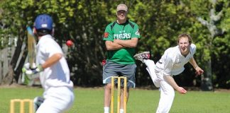 Stoke-Nayland bowler Marty King in action during Saturday's draw with Waimea Toi Toi United. Photo: Phillip Rollo.