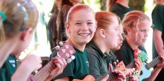 India Homan, of Birchwood School, plays as part of the school's ukulele group last week. Photo: Andrew Board.