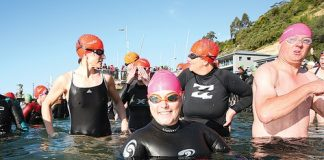 Swimmers get ready for the start of the first race of the Port Nelson Sea Swim series that began at the Nelson Yacht Club last Thursday. Photo: Simon Bloomberg.