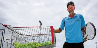 Tasman Tennis Club member Simon Richardson has gone about making a tennis ball machine out of a supermarket trolley. Photo: Phillip Rollo.