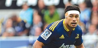 Tasman captain and Highlander Shane Christie, during the Highlanders and Blues at the Forsyth Barr Stadium on Saturday night. Photo: Peter McIntosh.