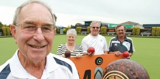 Mates in Bowls organiser Peter Goodman with from left, club president Barb McBride, and bowlers Frank Butt and Darren Quirk. Photo: Andrew Board.