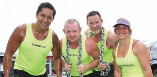 Members of the Wairua Mud Rookies from left; Greg Witika, Steve Fitzgerald, Al and Sharron Martin during their training on Sunday. Photo: Andrew Board.