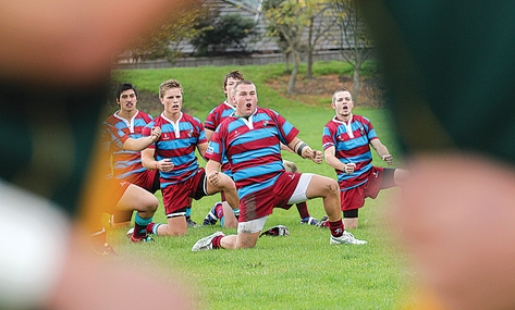 Last year's Nayland College captain Kendall Hodson performs the haka before a Press Cup game. Photo: Phillip Rollo.