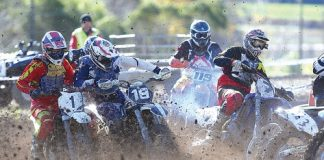 Motocross riders take off in one of the feature races during the Nelson Flat Track Champs over the weekend. Photo: Evan Barnes/Shuttersport.
