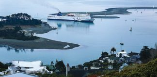 The Interislander ferry Kaitaki arrived in to Nelson around 7am on Sunday morning. It will remain at Port Nelson for six days as it gets an engine overhaul and undergoes other repairs. Photo: Phillip Rollo.