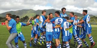The Nelson Marlborough Falcons celebrate after hearing they won the ASB Youth League after playing their game against Team Wellington at Memorial Park in Petone on Sunday. Photo: Dave Lintott.