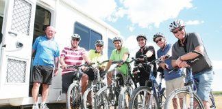 Brightwater Wine and Food Festival's, from left, Jim Scott, Pete Glue, Ray Day, Ras Zachariassen, Kevin Cross, Ken McDonald and Rob Grey, are encouraging people to bike and take campervans to the festival. Photo: Simon Bloomberg.