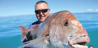 Organiser of the Tasman Bay Snapper Classic, Troy Dando, with a massive snapper caught in Tasman Bay last year.