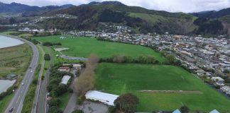 Neale Park and Guppy Park (bottom) is where FC Nelson and Nelson Rugby Club play the majority of their games, but both clubs say the pitch is not up to standard. Photo: Toby Harvey/Eagle Imaging.