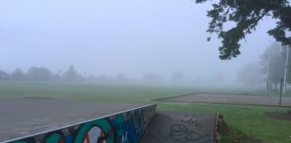 Richmond's Jubilee Park disappeared into the fog this morning. Photo: Brittany Spencer.