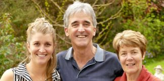 Richard Kempthorne with his wife Jane, right, and daughter Jess, at their Richmond home after hearing the news that he was re-elected as Tasman mayor on Saturday.
