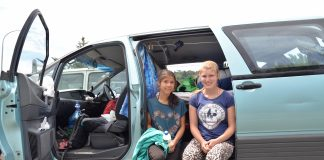 German freedom campers Anna Bregulla (left) and Annika Maier at Tahunanui Beach yesterday.