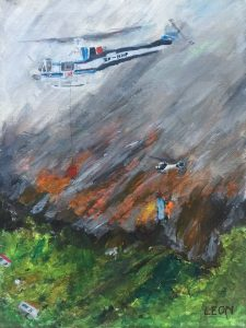 Leon Fenemor's painting depicting the helicopter firefighting efforts. Photo: Supplied.