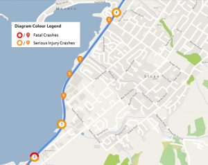 A map of where the serious incidents have occurred along the stretch of road since 2006. Photo: NZTA.
