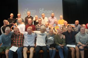 Scores of Nayland staff and students shaved their heads in solidarity with Brodie Seelen on Monday. Photo: Jonty Dine.