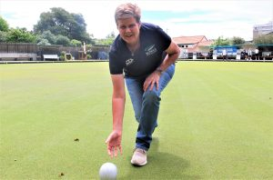 Jo Edwards on her beloved Nelson Bowls Club green. Photo: Jonty Dine.